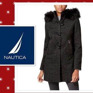 Nautica Woman Duffle Coat Wool & Faux Fur Trim